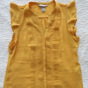 H&M Gold Short Sleeve, Button Down Blouse
